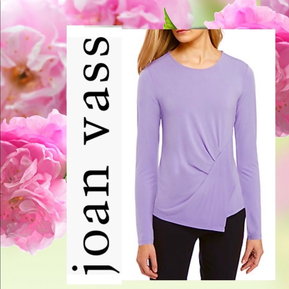 569e6c5c3389fe JOAN VASS Side Gathered Lavender Top NWT